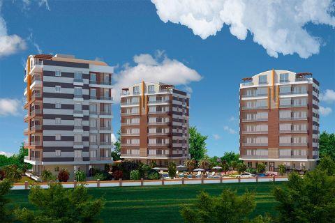 Nouveau complexe construit entre la zone verte intacte a Gocherler,Antalya