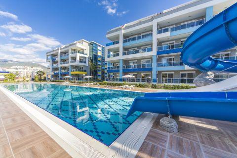 Pool view apartment for rent in Kestel, Alanya